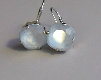 Bride, gold or silver, white Swarovski blush earrings