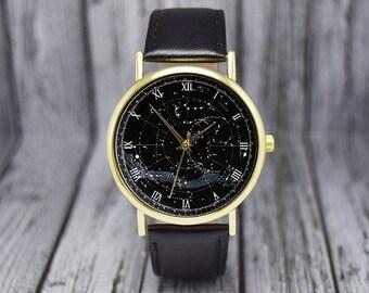 Vintage Northern Constellation Watch   Celestial Map   Stars   Northern Hemisphere   Ladies Watch   Men's Watch   Gift Ideas   Accessories