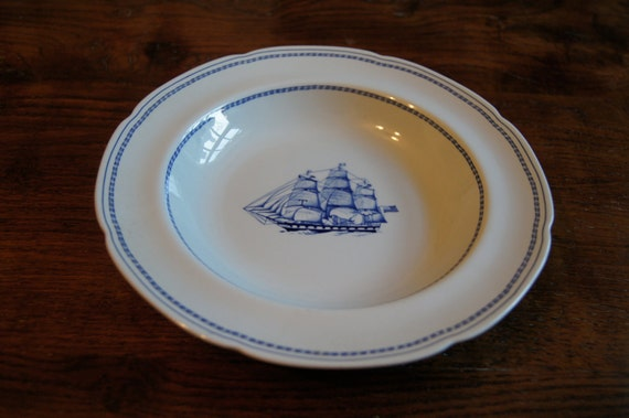 Spode Trade Winds Blue and White China White Diamond Liner