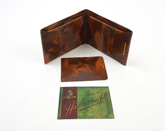 Vintage 1940's Hidecraft Marbled Cognac Brown Goatskin Leather Bifold Wallet Men's Billfold Dapper 40's Deadstock