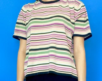 Vintage 90s Y2k 2000s White Purple and Black Striped Oversized Short Sleeve T-Shirt