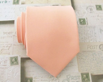 Peach / Apricot Tie With *FREE* Pocket Square Mens Tie Light Peach Mens Necktie Pocket Square Set