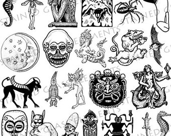 Mythology ceramic decals, black, myths ceramic transfers, ceramic transfer, glass fusing, glass pendants, decal, high quality ceramic decals