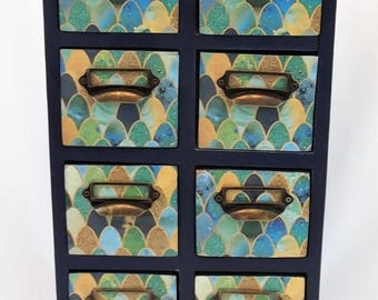 Wood Cabinet 8 Drawers Blues Gold Label Drawer Pulls Hand Painted Decoupage Paper