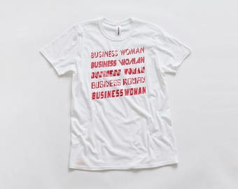 Business Woman Tee   Funny Graphic Feminist T-shirt   Typography 80's Font Top   Red Print Tee Shirt