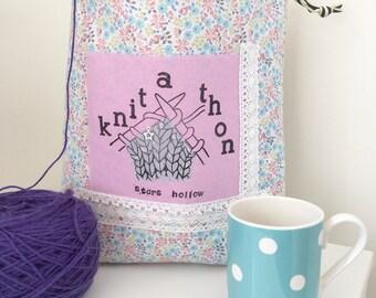 Gilmore Girls knit-a-thon drawstring knitting project bag