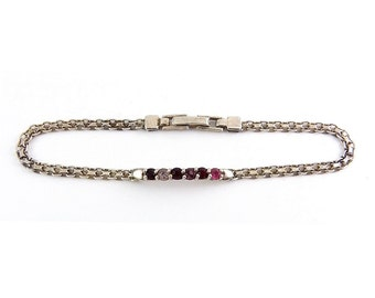 Sterling Silver Mesh & Hearts Bracelet with Ruby Red, Pink and Amethyst Crystals