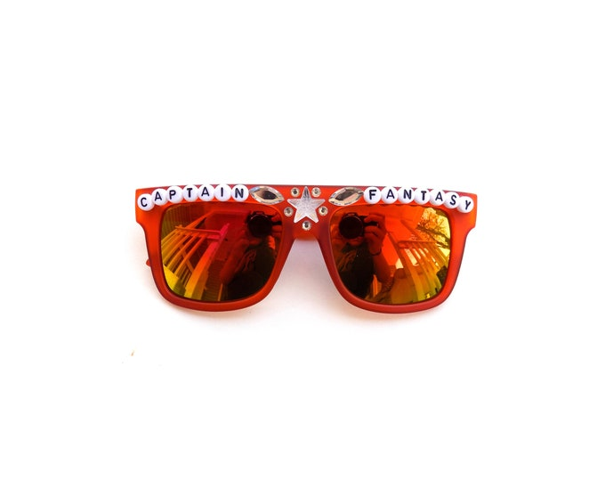 """Ween """"Captain Fantasy"""" sunglasses, hand decorated embellished funky festival shades"""