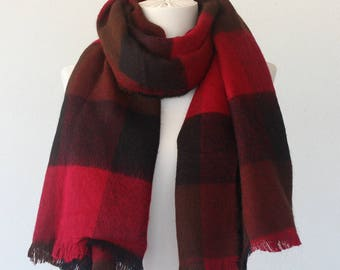 Plaid  scarf for men red black buffalo check scarf lumberjack scarf christmas gift idea for him boyfriend gift coworker gift