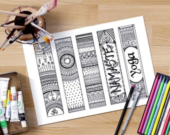 printable bookmarks coloring, Om bookmarks, Zendoodle bookmarks, adult coloring page, gifts for readers, Namaste bookmarks, Yoga bookmarks