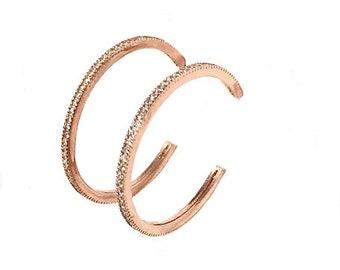 Sparkle Hoop Earrings - Zircon Rose Gold Silver