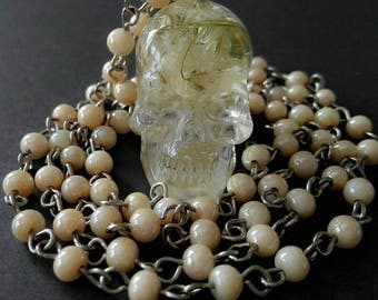 Skull necklace Crystal skull pendant for her Gothic skull flowers charm Silver rosary chain necklace Resin flower Pressed flower Calavera