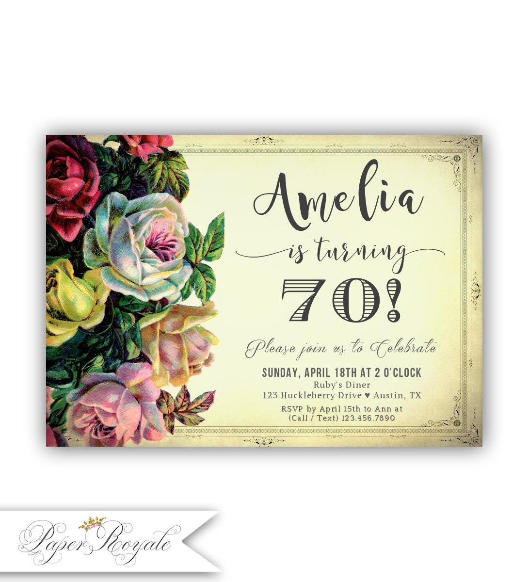 70th Birthday Invitations 70th Birthday Party Invitation for