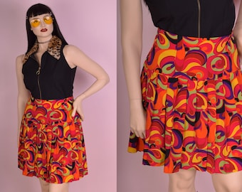 80s Colorful Pleated Skirt/ Large/ 32 Waist/ 1980s
