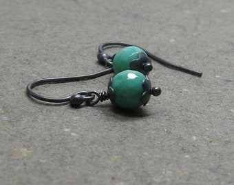 Green Chrysoprase Earrings Petite Minimalist Mint Green Oxidized Sterling Silver Gift for Her