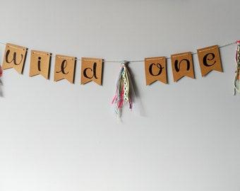 WILD ONE- Kraft handlettered bunting banner with rainbow tassels- handmade upcycled nursery decor- gender neutral rainbow baby decor