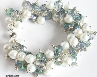 Bracelet Sparkling Jewellery sparkling perlenarm jewelry blue green irrisierend white pearls sparkling and glittering a gorgeous color game
