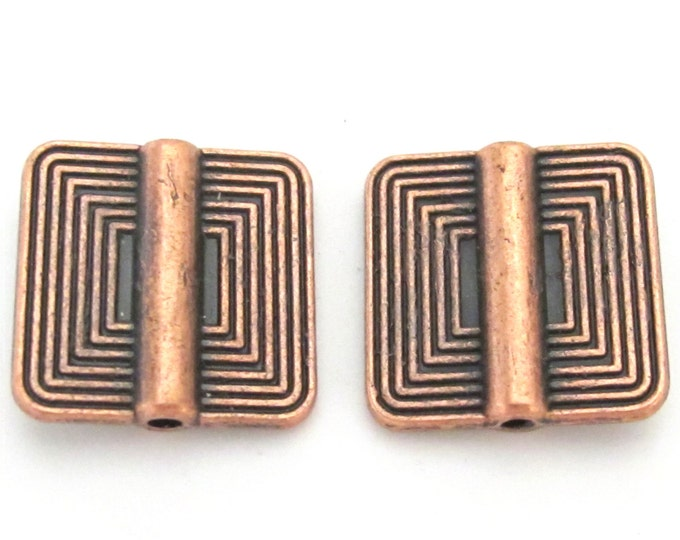 2 beads - Copper tone metal beads with concentric squares design - BD190