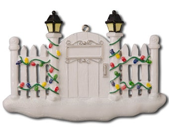 White Picket Fence Personalized Christmas Ornament