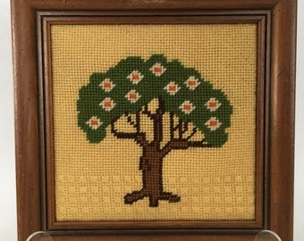 Vintage 1970s Wood Framed Wall Art Needlepoint's SET of 4 (four)