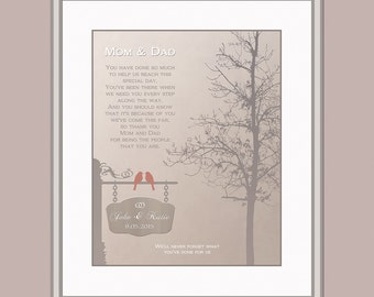 Thank You Parents Gift - Wedding Day Gift For Mom And Dad - Gift From Bride And Groom To Parents - Personalized Wedding Gift Thank You Poem
