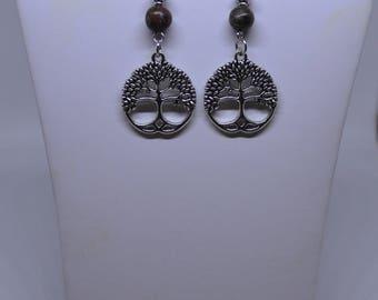 Leopard Jasper & Tree of Life Pendant Earrings