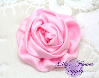Satin Rolled Rosettes - Light Pink - 3 roses - Satin Flower - Ruched Rosettes - Satin rosettes - Rolled Rosettes - Wholesale - supply