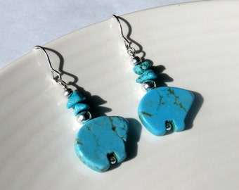 Silver And Turquoise Blue Stone Bear Dangle Earrings