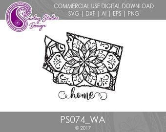 Washington Mandala Svg, Washington State SVG, Washington SVG, Washington SVG File, Svg Files, Silhouette Cut File, Cricut Cut File, PS074