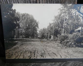 Vintage RPPC - Real Photo Postcard - Storm Destruction in Town - Lumber Yard