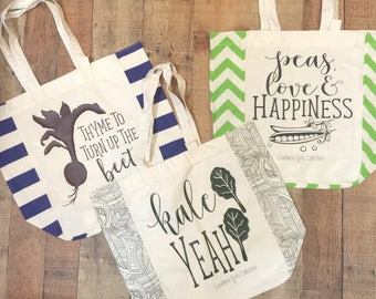 Canvas Farmer's Market Tote Bags - Your choice of  design - Thyme to Turnip the Beet - Kale Yeah - Peas Love & Happiness - Eco-friendly bag