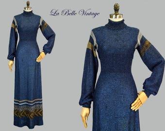 Metallic Lurex Sweater Dress XS S Vintage 70s Wenjilli Blue Glitter Knit Gown