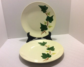 Vintage Blue Ridge Baltic Ivy Dinner Plates, Set of Two, Handpainted, Shabby Chic, Southern Potteries Inc, Wall Plates