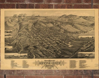 Vintage Butte Photo, Butte Map, Aerial Butte Photo, Old Butte Map, Butte Artist Rendering, Butte Poster, MT Artwork