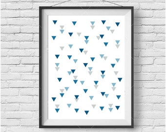 Blue Nursery Art, Kids Room Art, Printable Art, Blue Decor, Triangle Print, Pattern Art, Geometric Poster, Digital Print, Blue Wall Poster