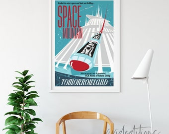 Space Mountain Disneyland Attraction Poster,  Tomorrowland, Disneyland Ride Poster, Print, Vintage Space Mountain Poster, Not Framed