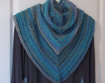 Crocheted Triangle scarf in tidal blues