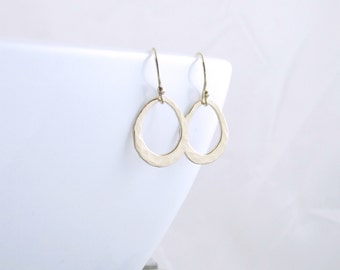 Gold Teardrop Earrings - Open Circle Earrings - Gold Organic Circle Earrings - Unique Jewelry - Gold Minimalist Jewelry - Christmas Gift