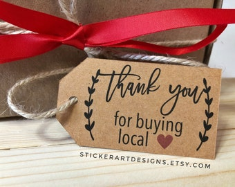 40 Thank you for buying local Tags, Thank You TAGS, Product Hang Tags, Business Tags, Thank You Tags, Personalized Tags, Thank You Card