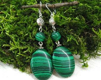 Dark green Boho earrings St Patrick Day Malachite dangle earrings modern gemstone jewelry long earring gift for mom teacher friend coworker