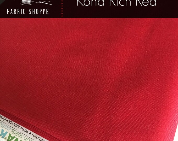 Kona cotton solid quilt fabric, Kona RICH RED 1551, Kona fabric, Solid fabric Yardage, Kaufman, Christmas fabric, Choose the cut