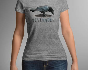 Raven Nevermore Women's T-Shirt, Women's Raven Tee, Edgar Allan Poe, Literary T-Shirt, Black Raven, Ladies  T-Shirt, Book TShirt
