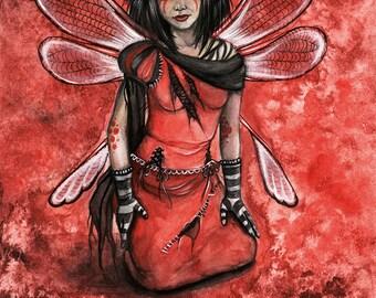 Crimson Fairy 8x10 inch Print it Yourself Downloadable Print