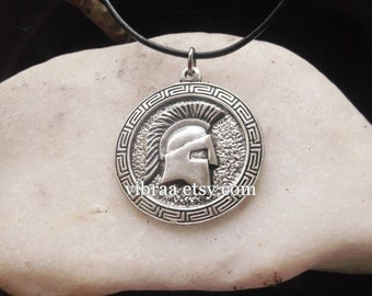 Spartan Helmet & Spartan Ancient Symbol Reversible Necklace Pendant