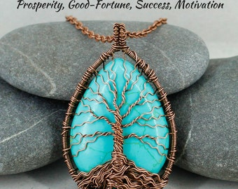 Tree of life pendant Turquoise jewelry Boho necklace Reiki healing stone Gift for mother in law gift for new mom birthday gift for women her