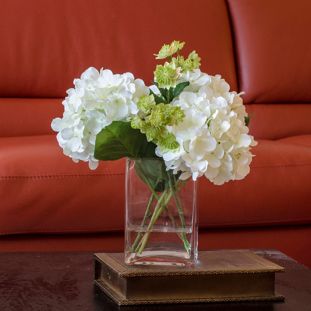 White hydrangea arrangement silk flowers greenery spray zoom reviewsmspy