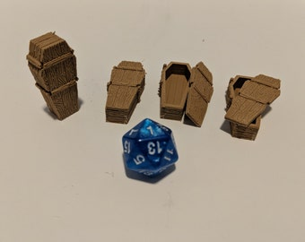 Set of 4 two part Miniature 3D printed wooden coffins, caskets, 28mm scale, tabletop gaming
