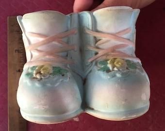 Vintage Baby Shoes Planter. Plantador