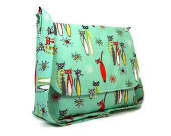 Cat Purse, Messenger Bag for Women, Kitty Cat Crossbody Bag, Fabric Cross Body Bag, Cotton Pocketbook, Green Handbag,  Seafoam Bag