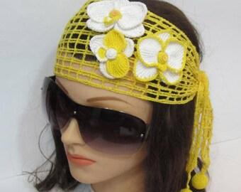 Crochet Summer Headband, Women Lace Orchid Headband Festival Summer Headband, Biho style Head wrap, Women Wide Head scarf Hair Accessory